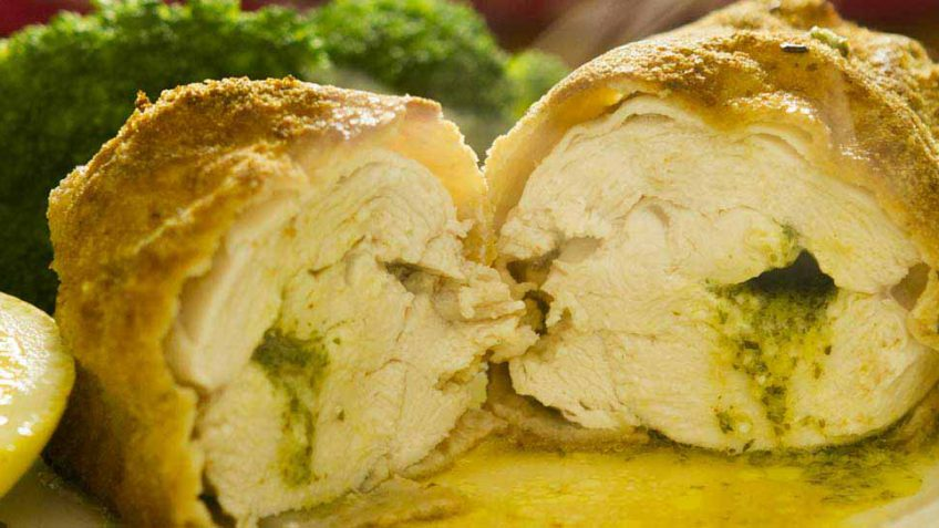 Chicken Kiev with buttery garlic recipe