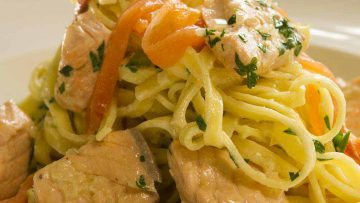 linguine with two salmons recipe