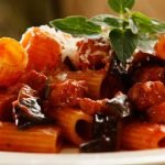 Rigatoni with tomato eggplant and chorizo