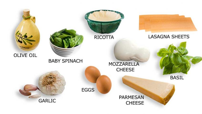 Ingredients for Cheesy Lasagna spinach basil rolls