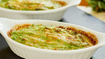Broccoli Puree side dish with a Cheesy Top