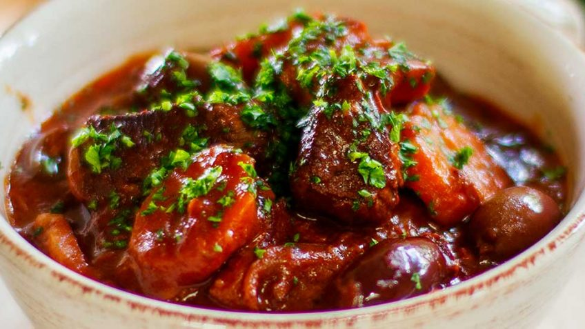 Slow cooked Rich Beef Stew known as Daube Provencale