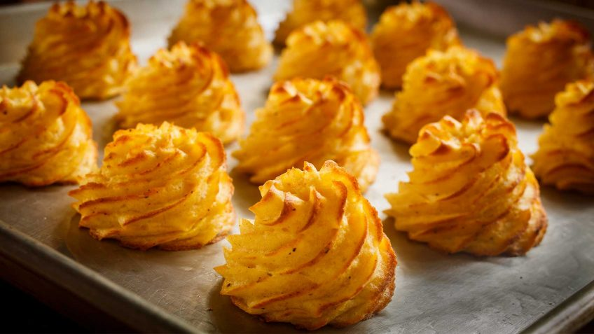 Potato swirls known as Pommes Duchesse
