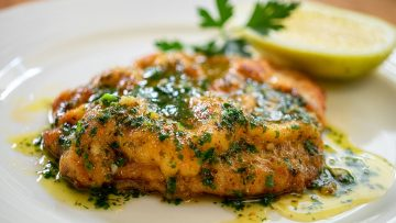 Pork Schnitzel with lemon garlic butter