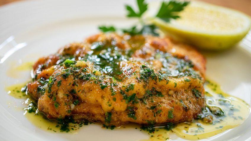 Pork Schnitzel with lemon garlic butter