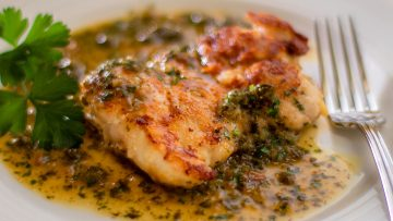 Chicken Piccata with a Parmesan Crust