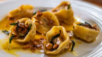 Tortellini made from scratch with a sage and hazelnut butter sauce