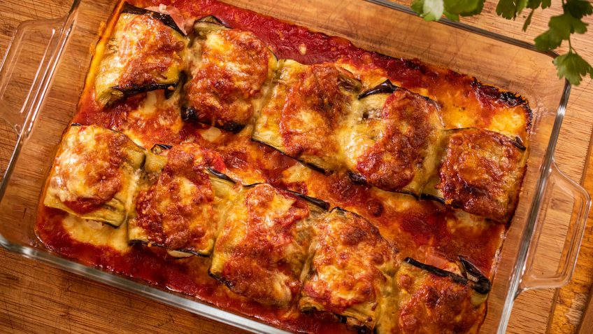 Parmesan Eggplant Involtini with Smoked Ham