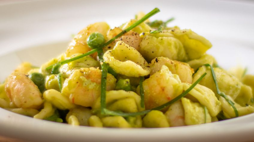 Orecchiette with shrimp and peas in a creamy sauce