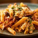 Crispy Salami and Olive Tomato Pasta