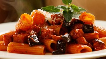 Rigatoni with tomato eggplant and chorizo