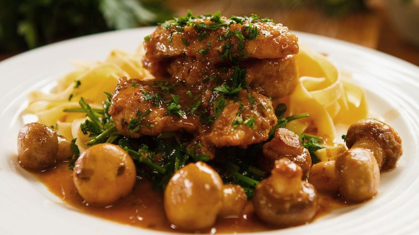 Amazing Chicken Marsala with fettuccine