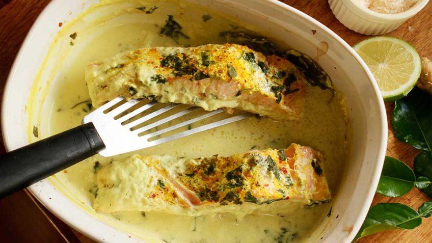 Baked Thai salmon one pot recipe