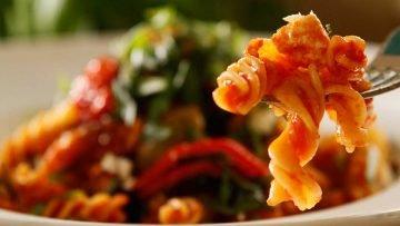 Mediterranean Spiral Pasta with grilled vegetables