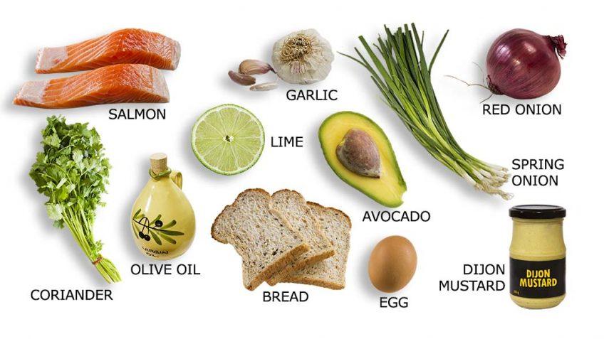 Salmon Burger ingredients