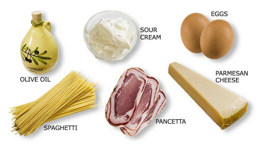 Spaghetti frittata ingredients