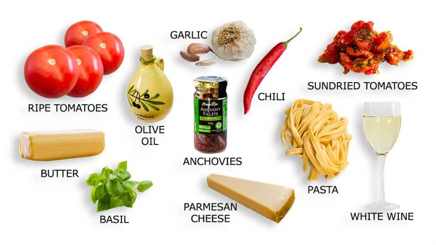 Ingredients for fresh tomato and basil pasta