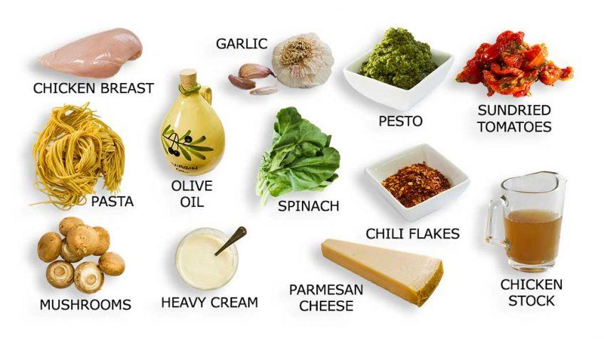 Ingredients for pasta pesto recipe