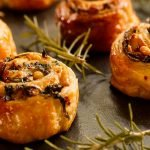 Puff pastry Pin wheels with Pine nuts, Feta Cheese and Spinach