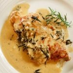 Chicken tarragon with prosciutto in a cream sauce