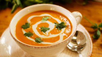 Vegan sweet potato and coconut soup