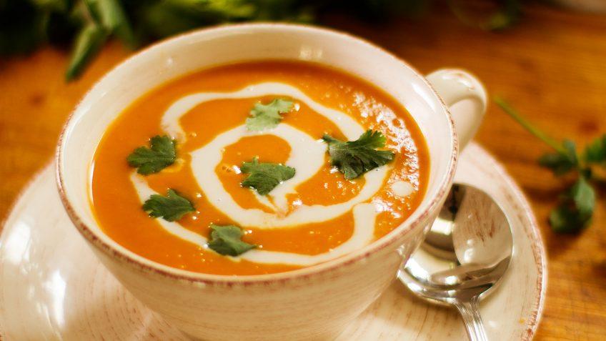 Vegan sweet potato and coconut soup