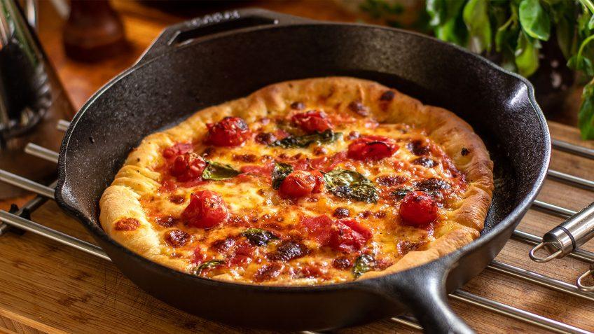 Margherita style pan pizza