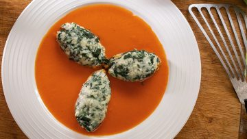 Malfatti - Cheesy Italian Dumplings with spinach and tomato sauce