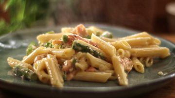 Creamy Penne Pasta with Smoked Fish