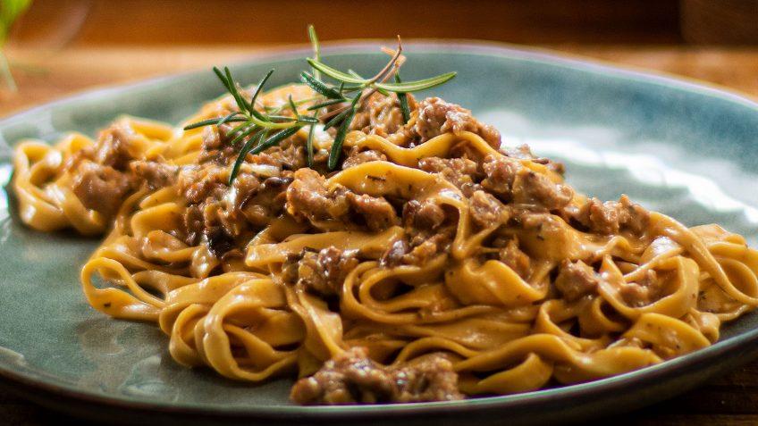 Sausage and Mushroom Fettucine